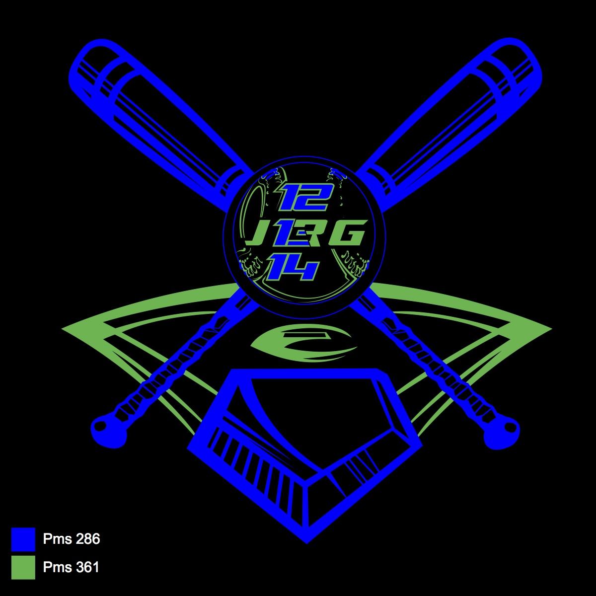 Baseball and bat Blue+Green